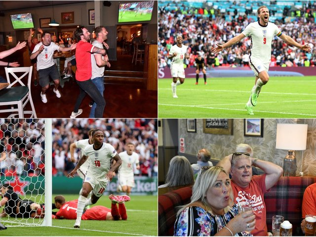 Jubilant scenes in Scarborough as England fans react to a historic 2-0 win over Germany as Raheem Sterling and Harry Kane bag the goals. Photo: (Getty/Catherine Ivill)