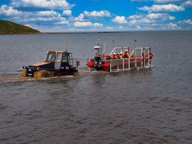 Filey lifeboat. Stock image.