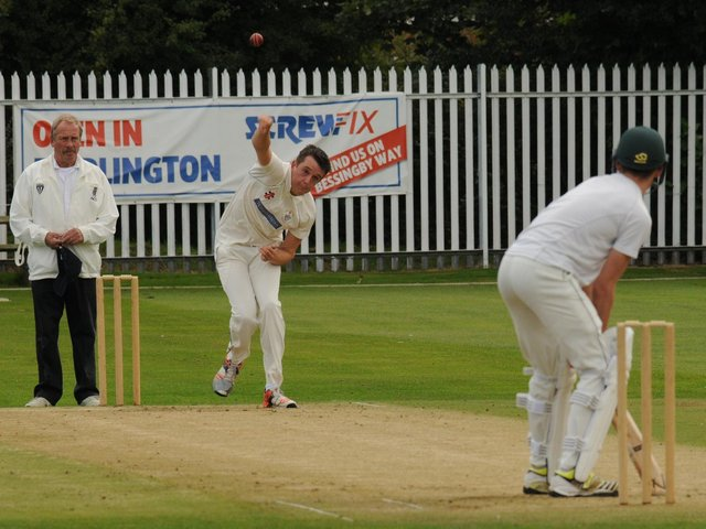 Harry Burton in bowling action for Bridlington 1sts