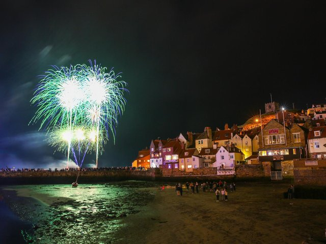 Spectacular fireworks at a previous Whitby Regatta.