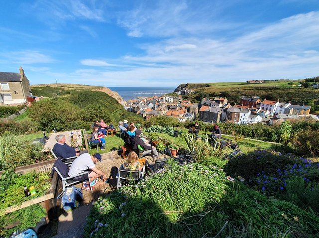 Whitby singer-songwriter Alistair Griffin performing a lockdown gig in a garden in Staithes.