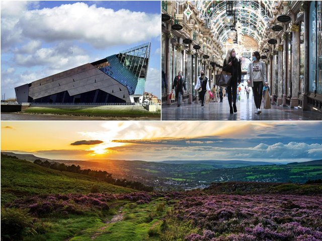 From top left: The Deep in Hull, arcades in Leeds and Ilkley Moor. Pictures all JPI Media.