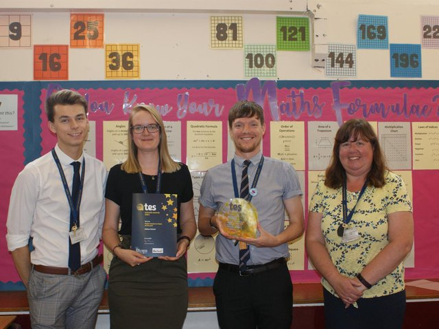 Some of the winning Malton School maths department members with their TES awards