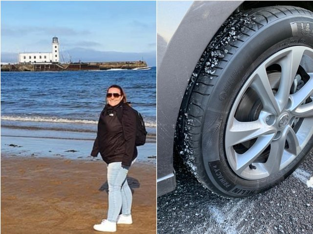 Left: Donna Connelly and Right: Damaged car tyre. Photos: Donna Connelly