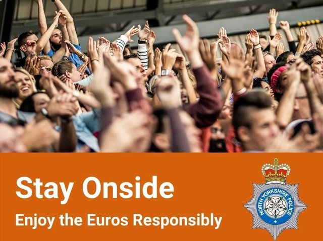 Image from North Yorkshire Police, who are asking fans to maintain good behaviour ahead of the Euro 2020 final this weekend.