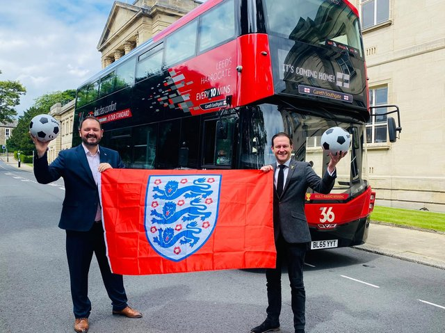 THREE LIONS ... ON THE BUS! Transdev has named one of its buses in Harrogate after England football manager and local resident Gareth Southgate – the freshly named bus is seen here with Transdev CEO Alex Hornby (left) and tourism agency Welcome to Yorkshire's CEO James Mason.