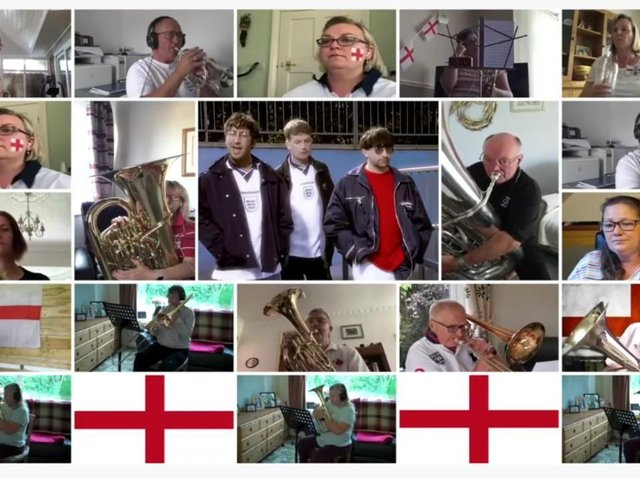 Simply Brass - Still from the video for Football's Coming Home