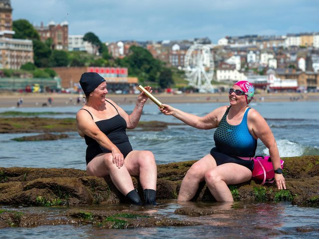 Scarborough Sea Swimmers, who are hosting a rally July 10 raising funds for Covid heroes. Pictured are Carmel O'Toole and Caroline Powell. Picture Bruce Rollinson
