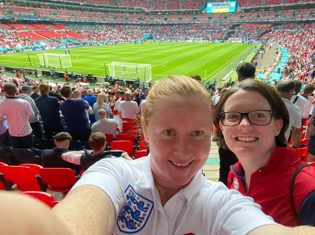 Tamanie Ingledew (left, with Emma Jolliffe) inside Wembley Stadium for the Euro 2020 final between England and Italy.