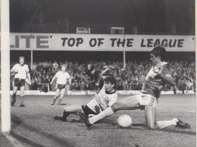 Ernie Moss scores for Chesterfield in October 1984 in a 3-1 win against Hereford