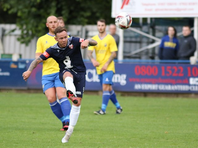 Nathan Cartman scored twice for Boro in the 3-1 win at home to Brid Town.  Photo by Morgan Exley