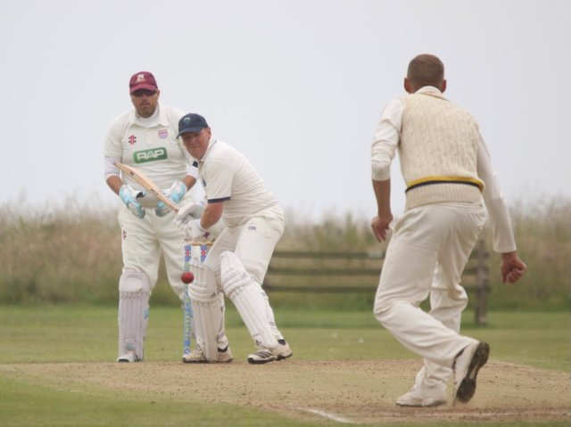 Sewerby CC batsman Mike Artley looks to hit out  PHOTOS BY TCF PHOTOGRAPHY